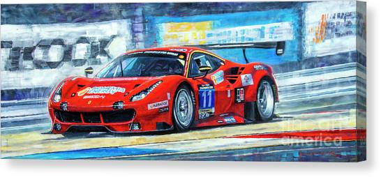 Race Cars Canvas Print - 2016 Hankook 24h Epilog Brno Ferrari 488 Gt3 Winner by Yuriy Shevchuk