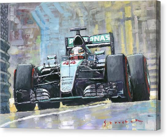 Papers Canvas Print - 2016 Monaco Gp Mercedes Amg Petronas Hamilton  by Yuriy Shevchuk