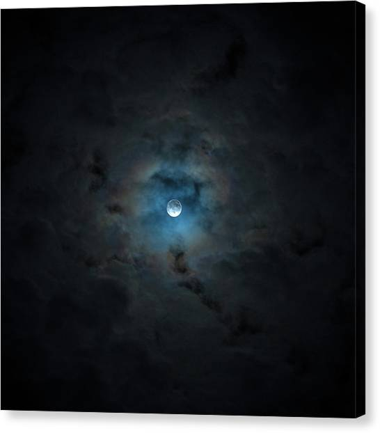 2016 Super Moon Behind Clouds Canvas Print by Will Leffert