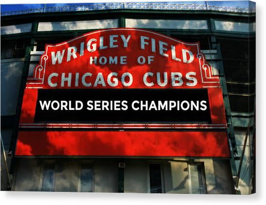 Wrigley Field Canvas Print - 2016 World Champions - Wrigley Field Sign by Stephen Stookey