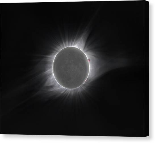 Solar Eclipse Canvas Print - 2017 Eclipse And Earthshine by Dennis Sprinkle