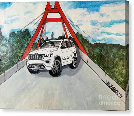 Tony Stewart Canvas Print - 2017 Jeep Grand Cherokee Watercolor  by Scott D Van Osdol