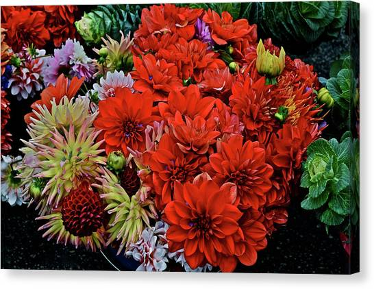 2017 Mid October Monona Farmers' Market Buckets Of Blossoms 1 Canvas Print