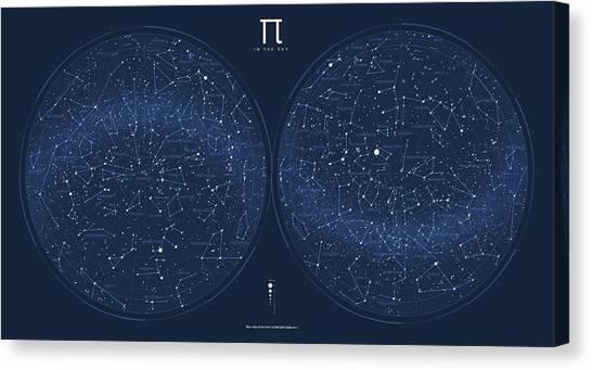 Pi Canvas Print - 2017 Pi Day Star Chart Azimuthal Projection by Martin Krzywinski
