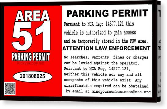 2018 Area 51 Parking Permit Canvas Print