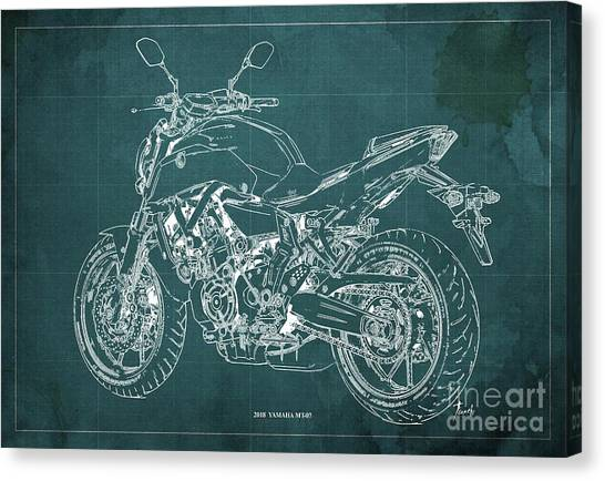 Yamaha Canvas Print - 2018 Yamaha Mt07 Blueprint Green Background Fathers Day Gift by Drawspots Illustrations
