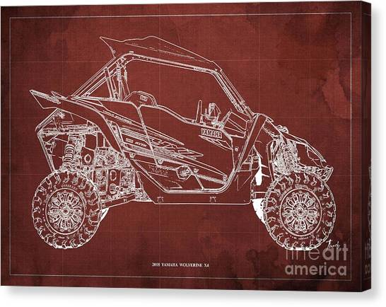 Moto blueprint canvas prints page 4 of 4 fine art america moto blueprint canvas print 2018 yamaha wolverine x4 blueprint red background gift for him by malvernweather Gallery