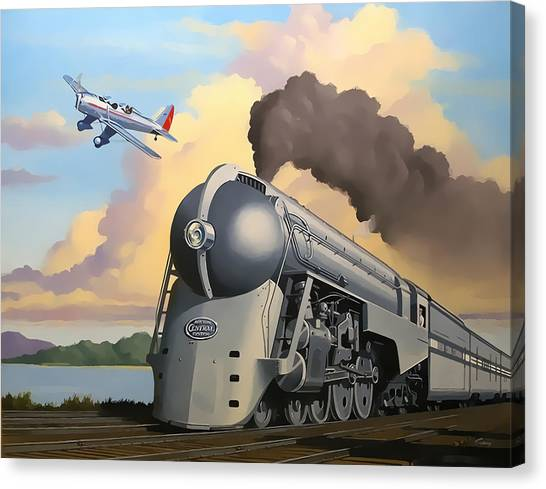 Prop Planes Canvas Print - 20th Century Limited And Plane by Chuck Staley
