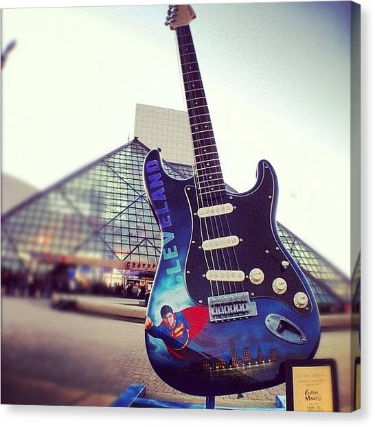 Guitars Canvas Print - #216 #cleve #burningrivercity #rockhall by Angela Ritchie