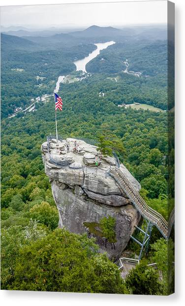 Lake Lure And Chimney Rock Landscapes Canvas Print
