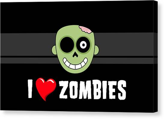 Skull Canvas Print - Zombie by Alice Kent