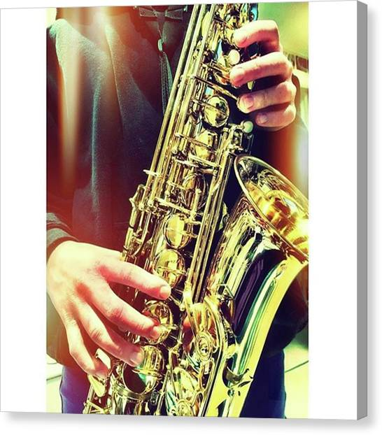 Saxophones Canvas Print - 24. Hands #fms_hands #fmsphotoaday by Mo Barton