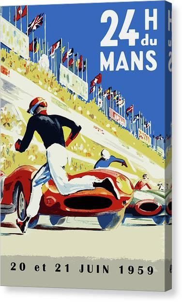 Motors Canvas Print - 24 Hour Le Mans 1959 by Mark Rogan