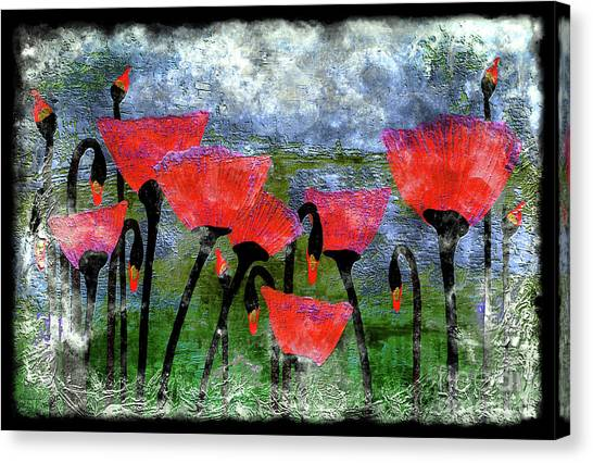 26a Abstract Floral Red Poppy Painting Canvas Print