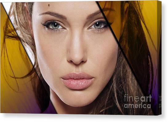 Portrait Canvas Print - Angelina Jolie Collection by Marvin Blaine