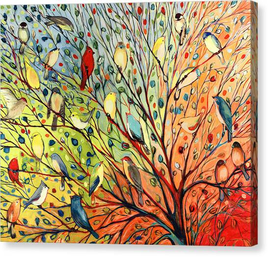 Sparrows Canvas Print - 27 Birds by Jennifer Lommers