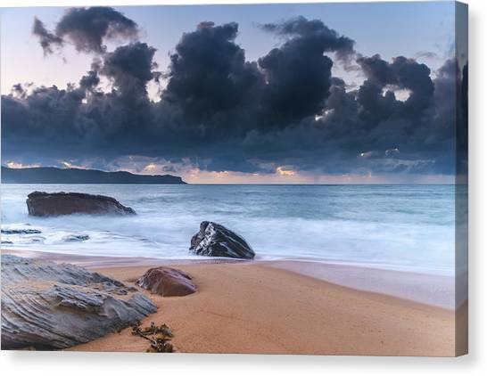 Sunrise Seascape With Clouds Canvas Print
