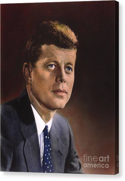 Democratic Presidents Canvas Print - John F. Kennedy (1917-1963) by Granger
