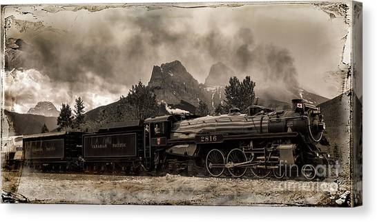 Canvas Print featuring the photograph 2816 Empress At Three Sisters - Canmore by Brad Allen Fine Art