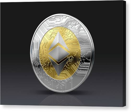 Etc Canvas Print - Cryptocurrency Physical Coin by Allan Swart