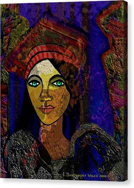 299 - Woman With Red Hat   Canvas Print by Irmgard Schoendorf Welch