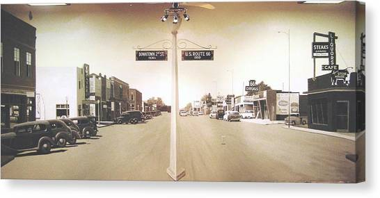 2nd St. 1930 And Route 66 1950 Canvas Print by Doug Quarles