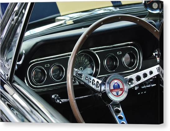 Cobras Canvas Print - 1966 Ford Mustang Cobra Steering Wheel by Jill Reger