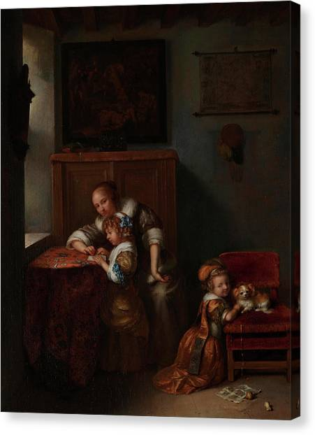 Academic Art Canvas Print - A Lady Teaching A Child To Read by Caspar Netscher