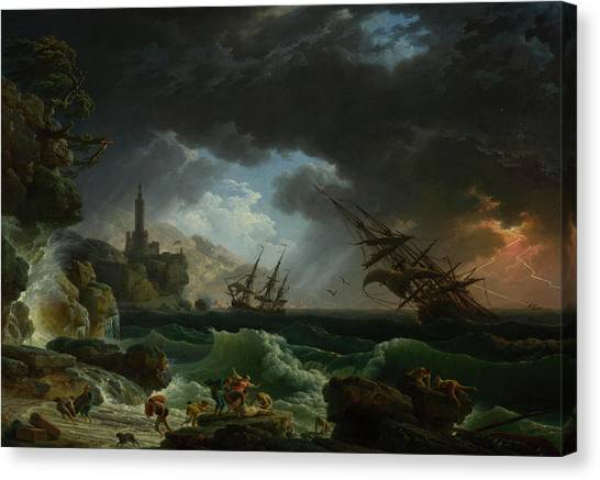 Thunderclouds Canvas Print - A Shipwreck In Stormy Seas by Claude-Joseph Vernet
