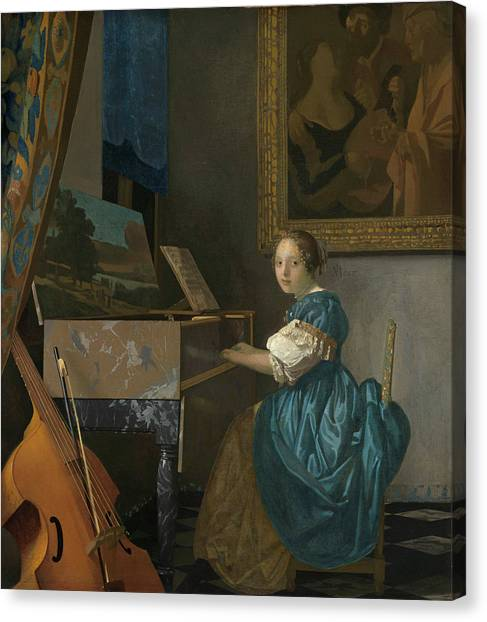 Music Genres Canvas Print - A Young Woman Seated At A Virginal by Johannes Vermeer