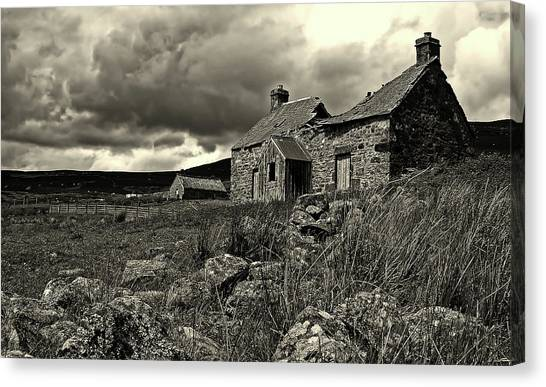 591e1fc7009 Black And White Barn Canvas Print - Abandoned Cottage - Scotland by Lee  Mcgilviray