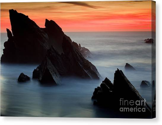 Adraga Beach In Sintra Natural Park Canvas Print by Andre Goncalves