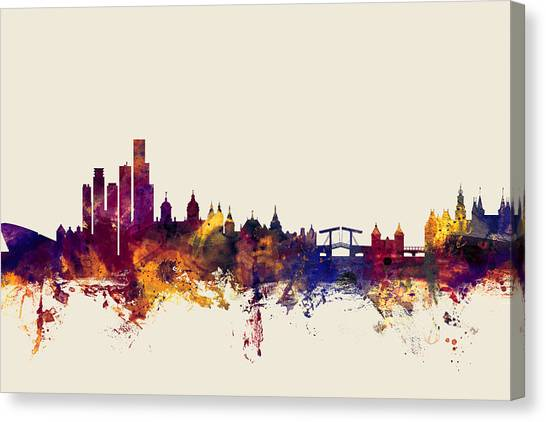Swiss Canvas Print - Amsterdam The Netherlands Skyline by Michael Tompsett