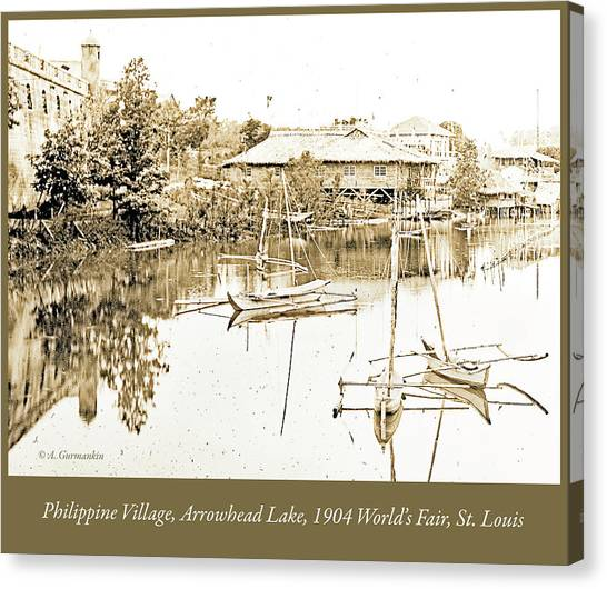 Arrow Head Lake, Philippine Village, 1904 Worlds Fair, Vintage P Canvas Print