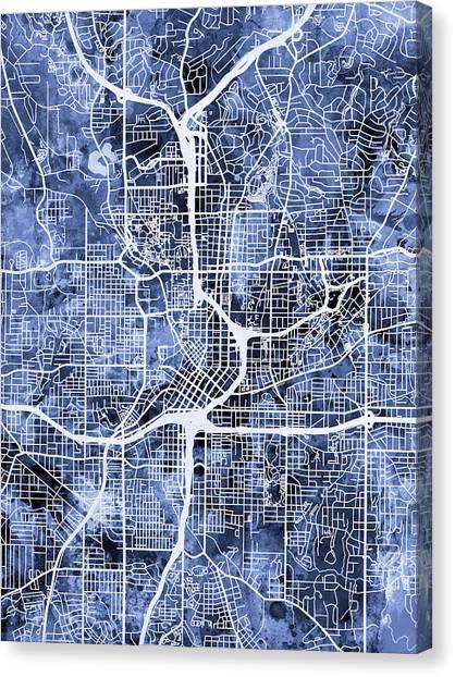 Georgia Canvas Print - Atlanta Georgia City Map by Michael Tompsett