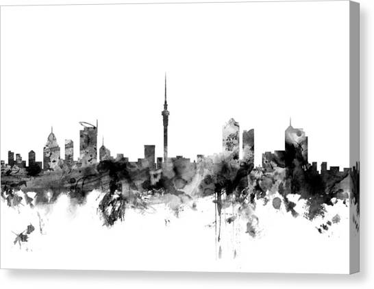 New Zealand Canvas Print - Auckland New Zealand Skyline by Michael Tompsett