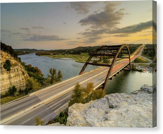 Austin Pennybacker 360 Bridge Sunset Canvas Print by Preston Broadfoot