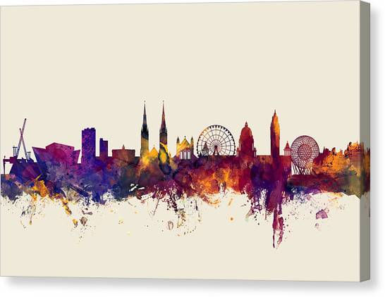 Ireland Canvas Print - Belfast Northern Ireland Skyline by Michael Tompsett