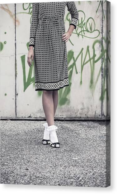 Graffiti Walls Canvas Print - Black And White by Joana Kruse