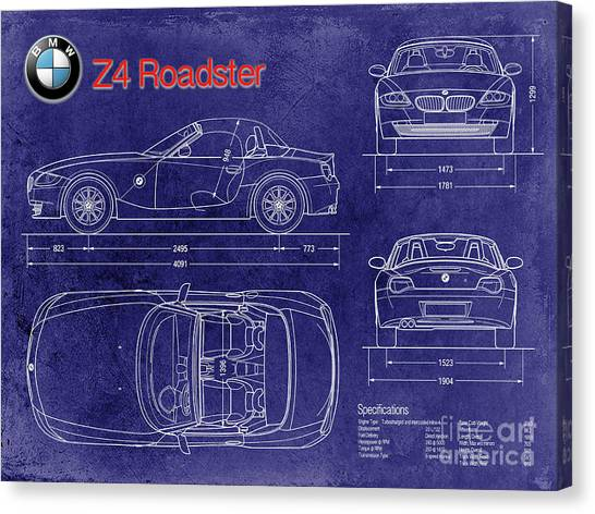 Car blueprint canvas prints fine art america car blueprint canvas print bmw z4 blueprint by jon neidert malvernweather Gallery