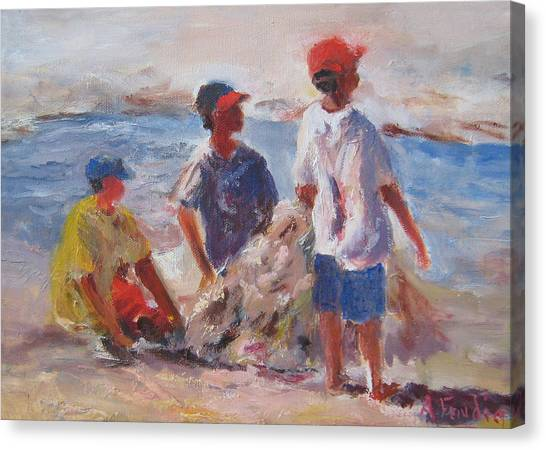 3 Boys And A Beach Canvas Print by Albert Fendig