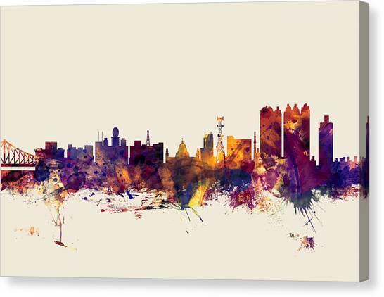 Bengals Canvas Print - Calcutta Kolkata India Skyline by Michael Tompsett