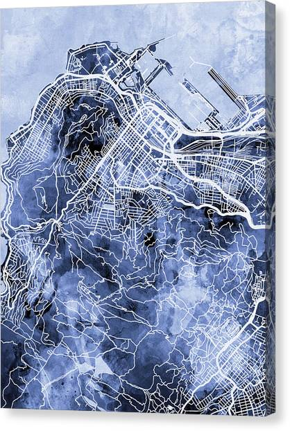 South Africa Canvas Print - Cape Town South Africa City Street Map by Michael Tompsett