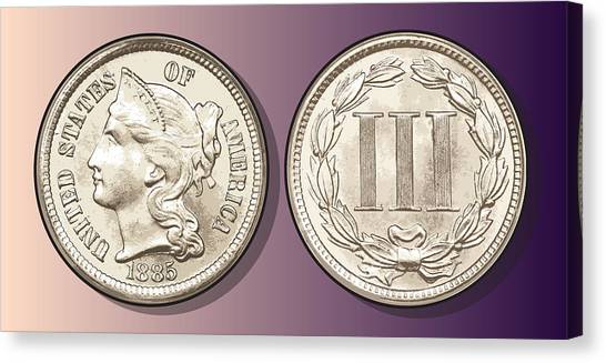 Money Canvas Print - 3 Cent Nickel by Greg Joens