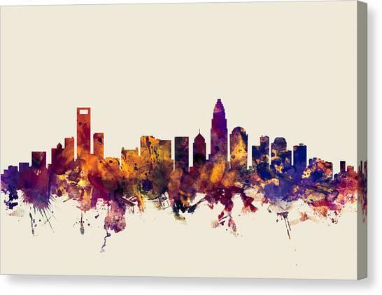 Charlotte Canvas Print - Charlotte North Carolina Skyline by Michael Tompsett