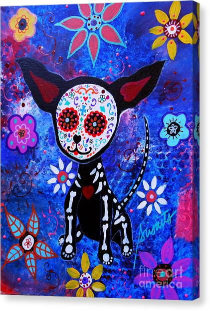 Chihuahua Day Of The Dead Canvas Print