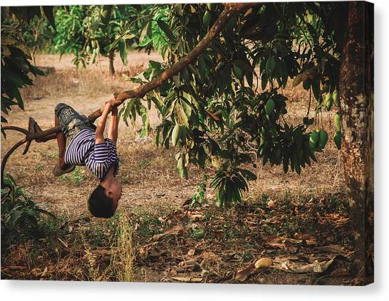 Mango Tree Canvas Print - Children...we Used To Be by Nguyen Truc