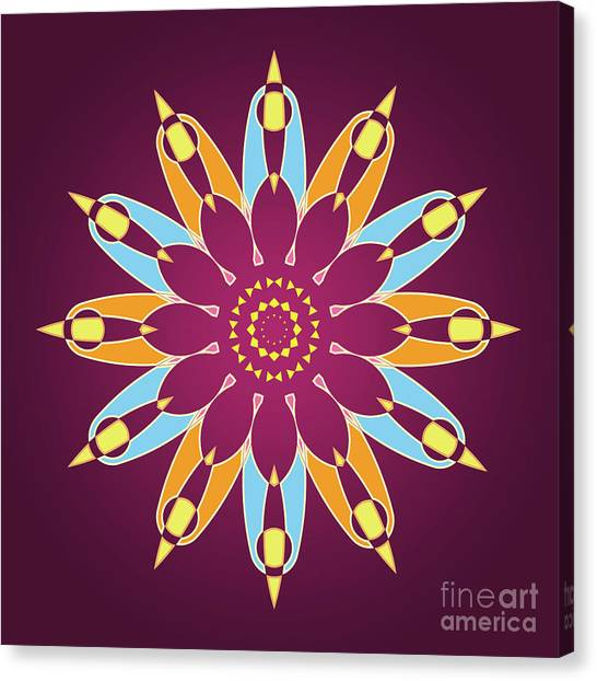 Violeta Canvas Print - Colorful Abstract Star On Purple Background by Drawspots Illustrations