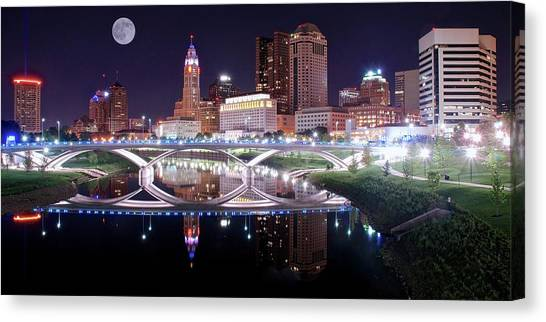 Cleveland State University Canvas Print - Columbus Ohio Full Moon Pano by Frozen in Time Fine Art Photography