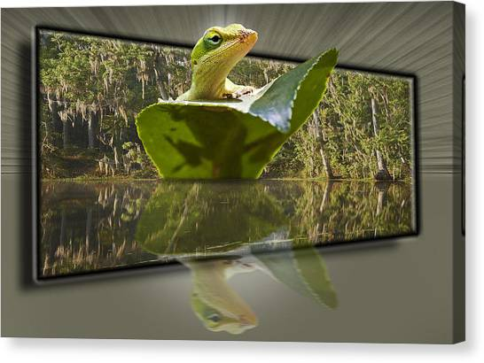 3-d Reflecting Lizard Canvas Print by Michael Whitaker